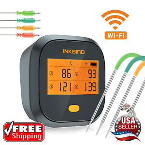 NEW Inkbird WiFi Grill Thermometer Wireless BBQ 4T Rechargeable FREE SHIPPING