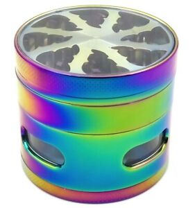 2.5 Inch 4 Piece Large Metal Herbal Herb Tobacco Grinder Crusher Rainbow $13.99