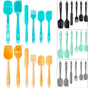 6pcs Silicone Utensil Set Heat Resistant Spatula Scraper Baking Kitchen Cooking $12.55