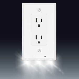 Powerglow Wall Outlet Plate 3 LED Night Light On Off Switch White Decor 240026