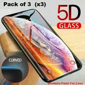 FULL Coverage Tempered Glass Screen Protector For iPhone X XS 11 12 Pro MAX 3 PK