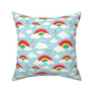 Clouds Rainbow Sky Girls Kids Throw Pillow Cover w Optional Insert by Roostery