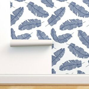 Peel and Stick Removable Wallpaper Chinoiserie Royal Blue Foliage Tropical