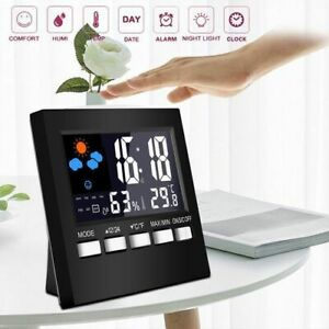 Digital LCD Display Thermometer Humidity Alarm Clock Calendar Weather Indoor