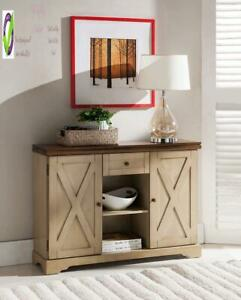 Kings Brand Furniture Console Table Antique White Walnut