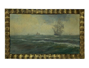 Antique IMPRESSIONIST SHIP Seascape OIL PAINTING Signed $149.00