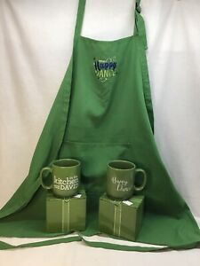 NEW 2 In the Kitchen with David 18 oz HAPPY DANCE Mug Cup GREEN W APRON