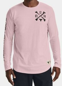 Mens Under Armour Project Rock BSR Long Sleeve.Rosewater Black $30.00