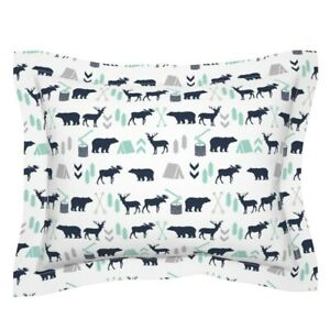 Nursery Baby Boy Camping Outdoors Woodland Pillow Sham by Roostery