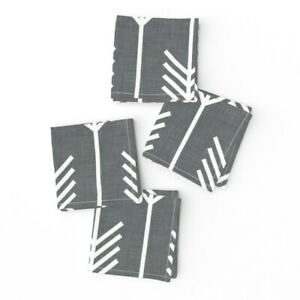 Cocktail Napkins Arrows Grey Arrow And Set of 4