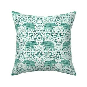 Watercolor Damask Animal Throw Pillow Cover w Optional Insert by Roostery