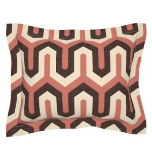 Modern Chevron Geometric Warm Colors Zigzag Retro Pillow Sham by Roostery