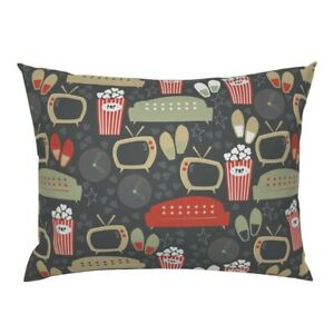 Snack Couch Tv Popcorn Slippers Papercanoe Shop Retro Pillow Sham by Roostery
