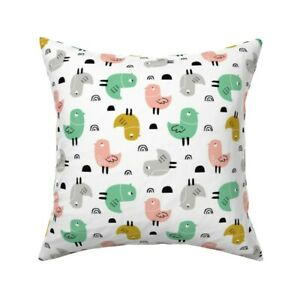 Birds Scandi Animal Throw Pillow Cover w Optional Insert by Roostery