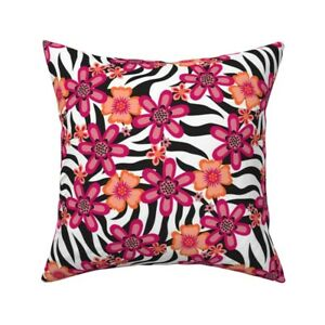 Zebra Safari Animal Animal Throw Pillow Cover w Optional Insert by Roostery