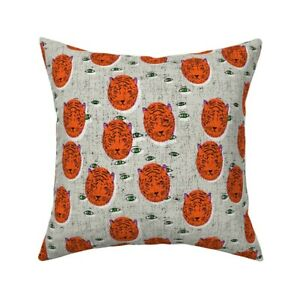 Tiger Eye Animal Throw Pillow Cover w Optional Insert by Roostery