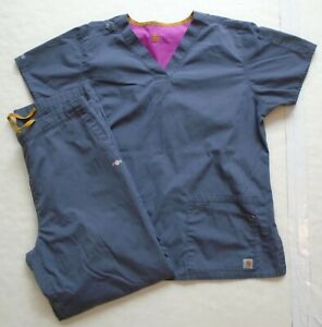 Women#x27;s Large Carhartt Force Grey Scrubs Pants amp; Top Set