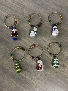 6 Christmas Wine Glass Markers Charms Rings Ornaments Santa tree Snowman 901
