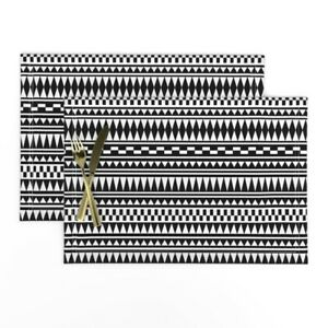 Cloth Placemats Aztec Geometric Black And Set of 2