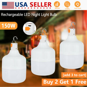 100W LED Camping Light Bulb USB Rechargeable Outdoor Tent Lamp Hiking Light IR