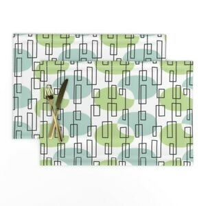 Cloth Placemats Mod Geometric Green And Set of 2