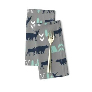 Nursery Baby Boy Camping Outdoors Cotton Dinner Napkins by Roostery Set of 2
