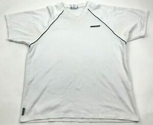 VINTAGE Reebok Dry Fit Shirt Size Large White V Neck Short Sleeve Hydromove Tee $18.77
