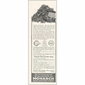 1920 Monarch Metal Weather Strips: Save Your Coal Vintage Print Ad $6.50