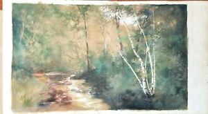 Vintage Painting Landscape Watercolor Stream River Signed Statelar? 14 x 8.5 $69.95