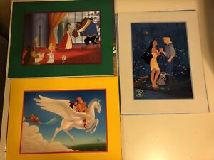 3 Disney Exclusive Lithographs HERCULES POCAHONTAS BEAUTY AND THE BEAST XMAS $15.00
