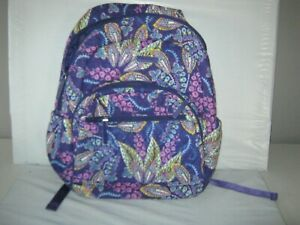 VERA BRADLEY Large Batik Leaves purple Backpack 16 x 12 x 6 GUC $29.99