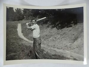 1949 Photo Snapshot Jay Terry Ball Bat at YMCA Camp Abe Lincoln Scott County IA