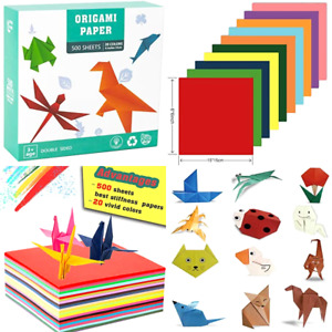 500 Sheets Origami Paper 6quot; Square 20 Vivid Colors Double Sided for Kids Craft