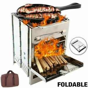 Stainless Steel Square Wood Burning Stove Portable Collapsible Grill Outdoor BBQ $21.66