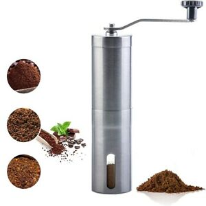 Stainless Steel Ceramic Coffee Grinder Burr Manual Hand Crank Bean Mill Portable