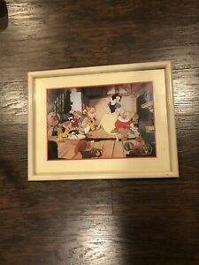 Vintage Disney 1994 Snow White and the 7 Dwarfs Exclusive Lithograph Framed $15.00