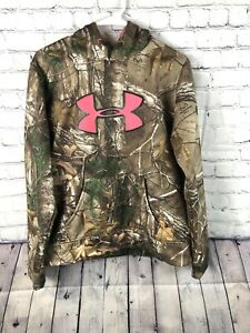 Under Armour Woman#x27;s Med Hoodie Camo Camouflage w Hot Pink Realtree Pullover