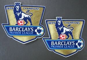 08 09 BARCLAYS PREMIER LEAGUE CHAMPIONS x2 ARM PATCHES = REPLICA SIZE