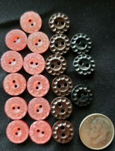 Lot of flower plastic buttons 3 8quot; 11 pink 6 brown 3 black crafts sewing kids $2.99