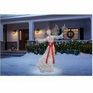Outdoor Christmas 60quot;Gold White Lighted Angel Decoration PreLit Lawn Yard Decor $143.99