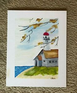 Lighthouse oil painting by CSteller 14X11 inches framed FREE SHIPPING $49.99