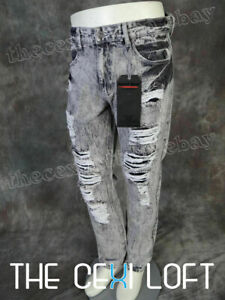 Mens ROYAL BLUE DESIGNER Jeans Slim Fit Legs Destroyed Faded amp; Rips in GREY