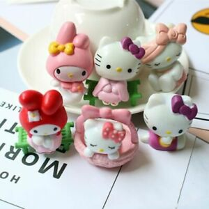 6pcs Hello Kitty Anime Figures Mini Figurine Display Kids Toy Gift Cake Topper