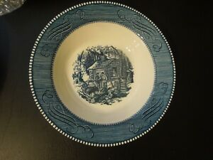 VINTAGE CURRIER amp; IVES ROYAL CHINA 9quot; ROUND VEGETABLE SERVING BOWL USA $9.95