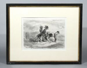 Antique French Lithograph by Jules Laurens after A. Decamps Monkeys and Dogs $149.00