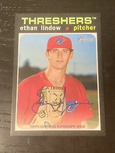 2020 Topps Heritage Minor League On Card Auto Ethan Lindow Phillies #ROA EL $12.20