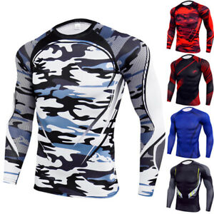Mens Compression Under Shirt Tops Long Sleeve Gym T Shirts Tights Athletic Tunic $14.69