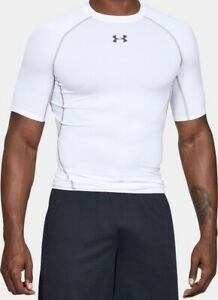 Under Armour Mens HeatGear Short Sleeve Compression T Shirt.Color:White $18.95