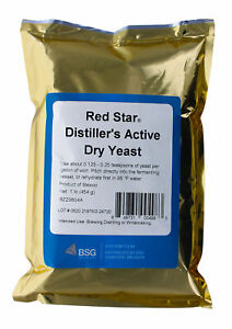 DISTILLERS YEAST 1 POUND FOIL PACK DADY FOR HIGH PROOF WHISKEY STILL MOONSHINE