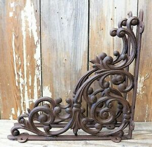 Set of 2 X LARGE Cast Iron Shelf Brackets Rustic Brown Antique Style 13quot; x 13quot;
